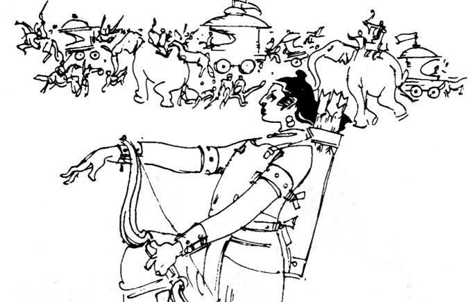 நம்பூதிரி எம்.டி.வாசுதேவன் நாயரின் இரண்டாமிடம் நாவலுக்கு வரைந்த மகாபாரதக் காட்சி