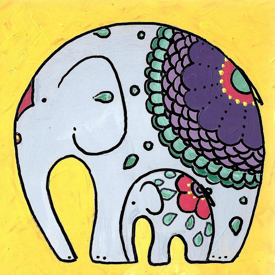 elephant-and-child-on-yellow-caroline-sainis